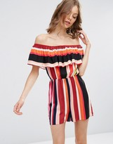 Asos Off Shoulder Ruffle Stripe Romper