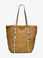 Michael Kors Large Studded Straw Shopper Tote