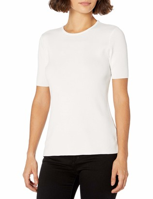 Tahari ASL Women's Crew Neck Short Sleeve Sweater