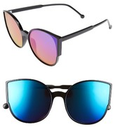 BP Women's 55Mm Cat Eye Sunglasses - Black/ Blue