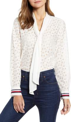 Tommy Hilfiger Tie Front Lace Button Up Top