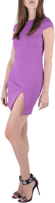DSQUARED2 Purple Jersey Paneled Cap Sleeve Slit Detail Fitted Dress M