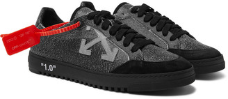 Off-White Off White 2.0 Suede-Trimmed Cracked-Leather Sneakers