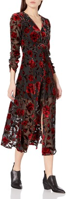 ASTR the Label Women's Jalisca A-Line Velvet Midi Dress Red Floral X-Small