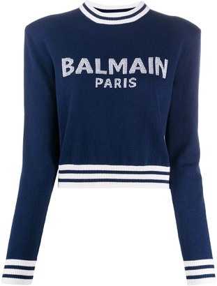 Balmain Logo-Jacquard Padded-Shoulder Jumper