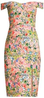 Aidan Mattox Floral Crepe Cocktail Dress