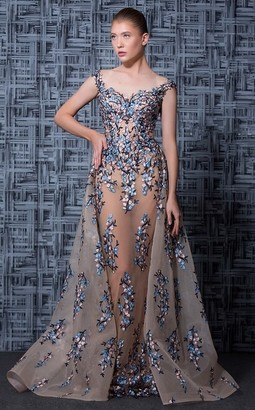 MNM Couture Nude Blue Beaded Floral Off Shoulder Evening Gown