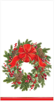 Caspari Evergreen Wreath White Paper Guest Towel