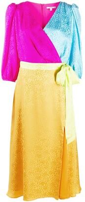 Olivia Rubin Colour-Block Leopard-Jacquard Wrap Dress
