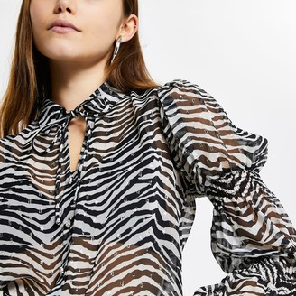 River Island Womens Black zebra print shirred long sleeve shirt