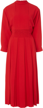 Prada Pleated Crepe Midi Dress