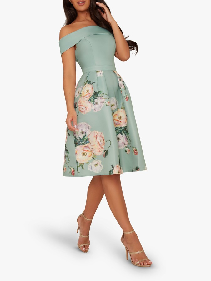 Chi Chi London Vida Floral Print Bardot Dress, Green/Multi