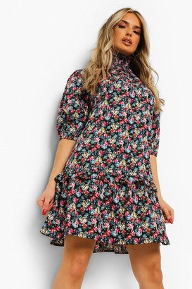 boohoo Floral Shirred Neck Smock Dress
