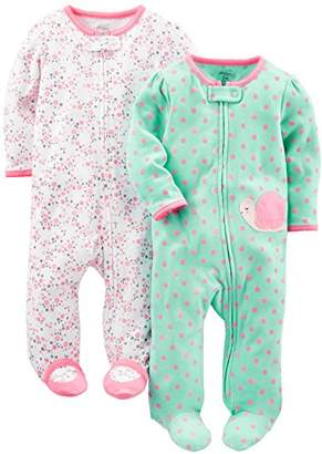 Carter's Simple Joys by Baby Girls' 2-Pack Cotton Footed Sleep and Play