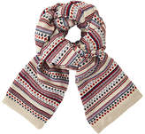 John Lewis Textured Pattern Scarf, Red Mix