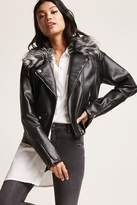 Forever 21 Members Only Faux Fur Moto Jacket