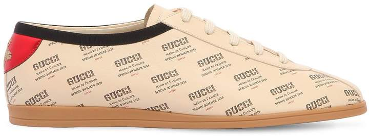 Gucci Falacer Logo Printed Leather Sneakers