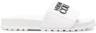 Versace Jeans Couture Logo-Print Flat Slides