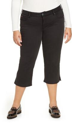SLINK Jeans Slit Hem Crop Straight Leg Jeans