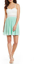 I.N. San Francisco Sweetheart Lace Bodice Color Block A-line Dress