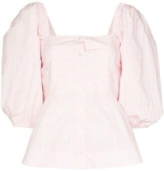Ganni x Browns 50 gingham peplum blouse