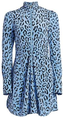 A.L.C. Marcella Leopard Print Silk Long-Sleeve Dress
