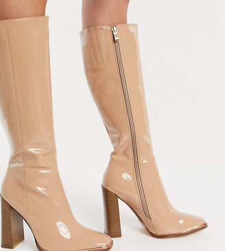 Simmi Wide Fit Simmi London Wide Fit Melisa knee boots in with metal plating in beige patent