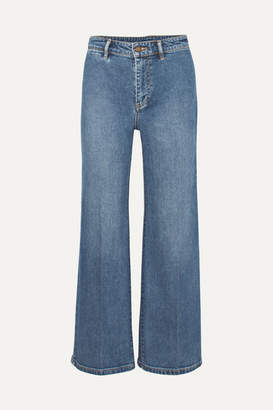 Vince Cropped High-rise Wide-leg Jeans - Indigo