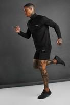 boohoo Mens Black MAN Active Funnel Neck Short Set With Zips, Black