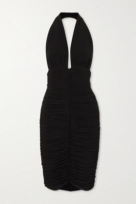 Norma Kamali Slinky Ruched Stretch-jersey Halterneck Dress - Black