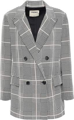 L'Agence Taryn Double-breasted Houndstooth Silk Crepe De Chine Blazer