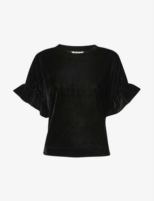 Whistles Frilled velvet T-shirt