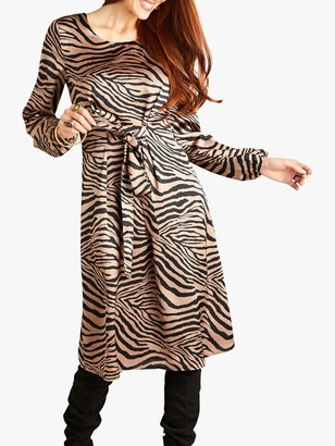 Yumi Tiger Stripe Midi Dress, Brown
