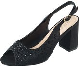 De Blossom Collection Wendy-10 Chunky Block Heel Slingback Rhinestone Embellished Fomal Dress Sandal Black 10