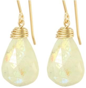 Ardent Designs Handmade Aurora Borealis Milky Aquamarine Drop Earrings - Ivory