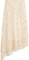 Tibi Asymmetric Metallic Fil Coupé Silk-Blend Midi Skirt