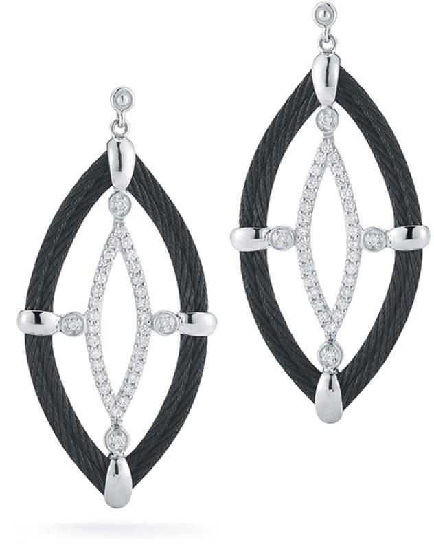 Alor 18k Diamond & Cable Marquise Drop Earrings, Black