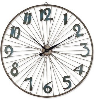 Lone Elm Studios Battery-Operated Bicycle Wheel Wall Clock with Spoked Wheel Effects