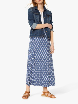 White Stuff Abberford Leaf Print Maxi Skirt, Navy
