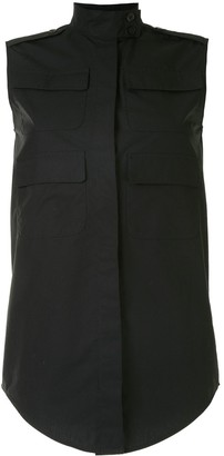 Vera Wang Multi-Pocket Sleeveless Shirt
