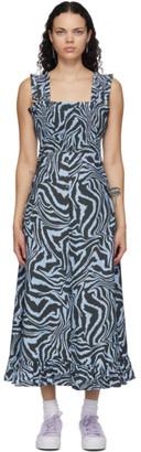 Ganni Blue Striped Long Dress