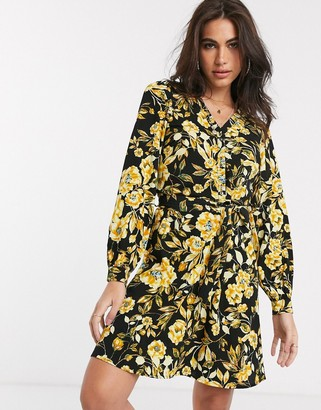 Vila wrap mini dress with belted waist in yellow floral