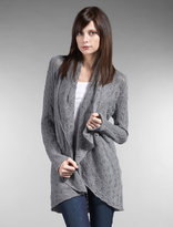 Classic Cable Pointelle Drape Neck Cocoon Sweater