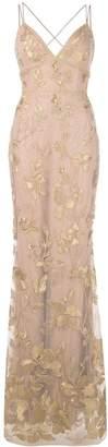 Marchesa Long Floral Dress