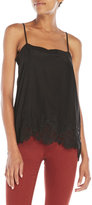 Gold Hawk Lace Trim Silk Tank