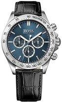 HUGO BOSS 1513176 Men's Black Leather Band Blue Dial w Chronograph