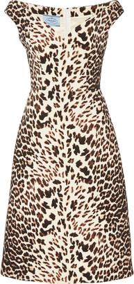 Prada Off-The-Shoulder Gabardine Midi Dress