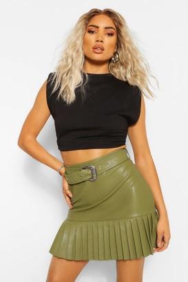 boohoo Leather Look Pleated Hem Mini Skirt