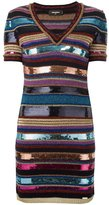 DSQUARED2 striped knit sequin dress - women - Polyester/Viscose/Wool/Polyimide - S