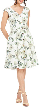 Gal Meets Glam Floral-Print V-Neck Button-Down Cap-Sleeve Fit-and-Flare Dress